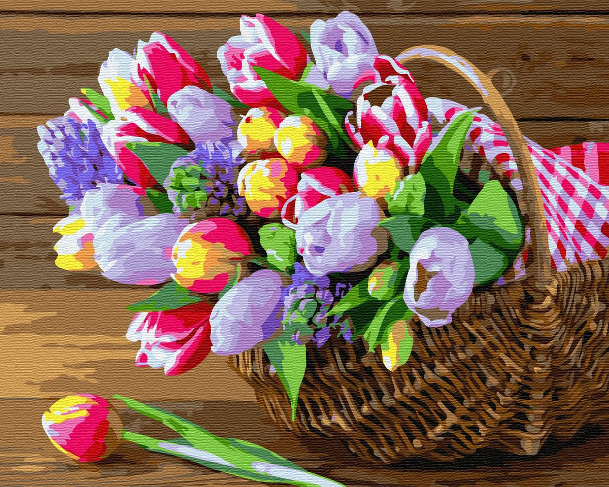 Картина по номерам Весна в корзинке 40х50 Yarik's (без коробки)