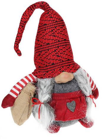 Мягкая игрушка Гном, 46см, цвет - красный с серым, в упаковке 1шт. (823-832), фото 2