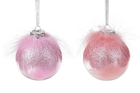 Елочный шар 8см с декором из пуха, микс 2-х цветов в дисплей- коробке: розовый , клубника, фото 2