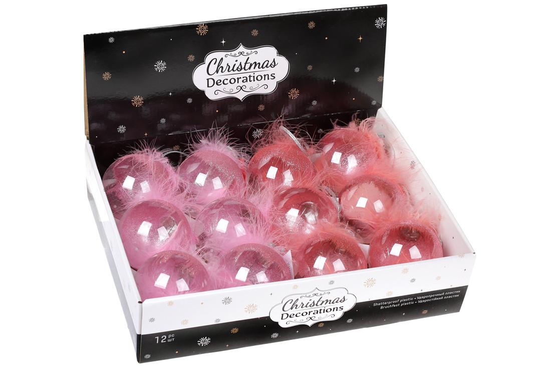 Елочный шар 8см с декором из пуха, микс 2-х цветов в дисплей- коробке: розовый , клубника