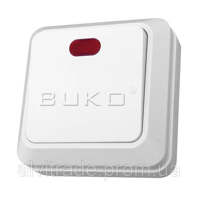 Выключатель 1 с подсветкой BUKO белый