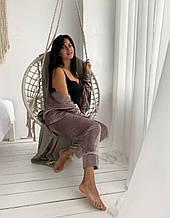 Женская уютная плюшевая пижама костюм цвет капучино