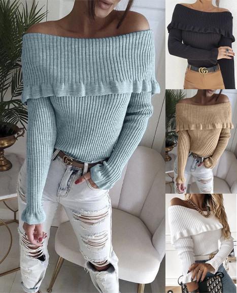 Трендовый женский вязаный свитер со спущенными плечами  ft-3010