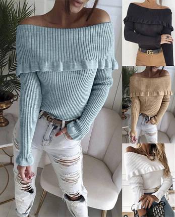 Трендовый женский вязаный свитер со спущенными плечами  ft-3010, фото 2