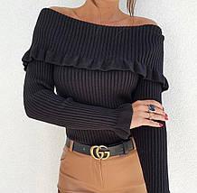 Трендовый женский вязаный свитер со спущенными плечами  ft-3010, фото 3