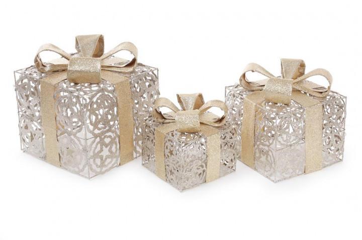 Набор декоративных подарков (3шт) с подсветкой, 12,5см, 16,5см, 20см, цвет - шампань с золотом BonaDi NY12-490