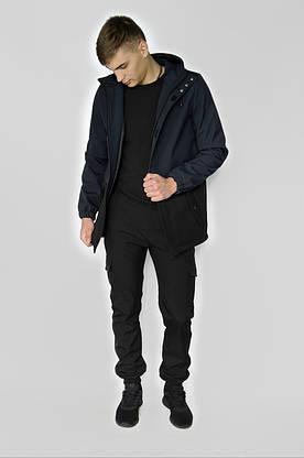 """Куртка мужская синяя черная Softshell демисезонная """"Citizen"""" Intruder осенняя весенняя на флисе+Ключница, фото 2"""