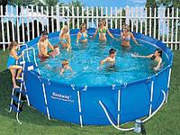 Каркасный круглый бассейн BestWay 56100 - диаметр 4,5 метра + лестница, тент и прочие аксессуары