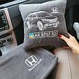 Автомобільний набір: подушка і плед з вишивкою контурів автомобіля!, фото 2