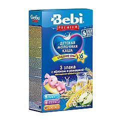 Молочна каша Bebi Premium 3 злаки з яблуком і ромашкою, 6+, 200г
