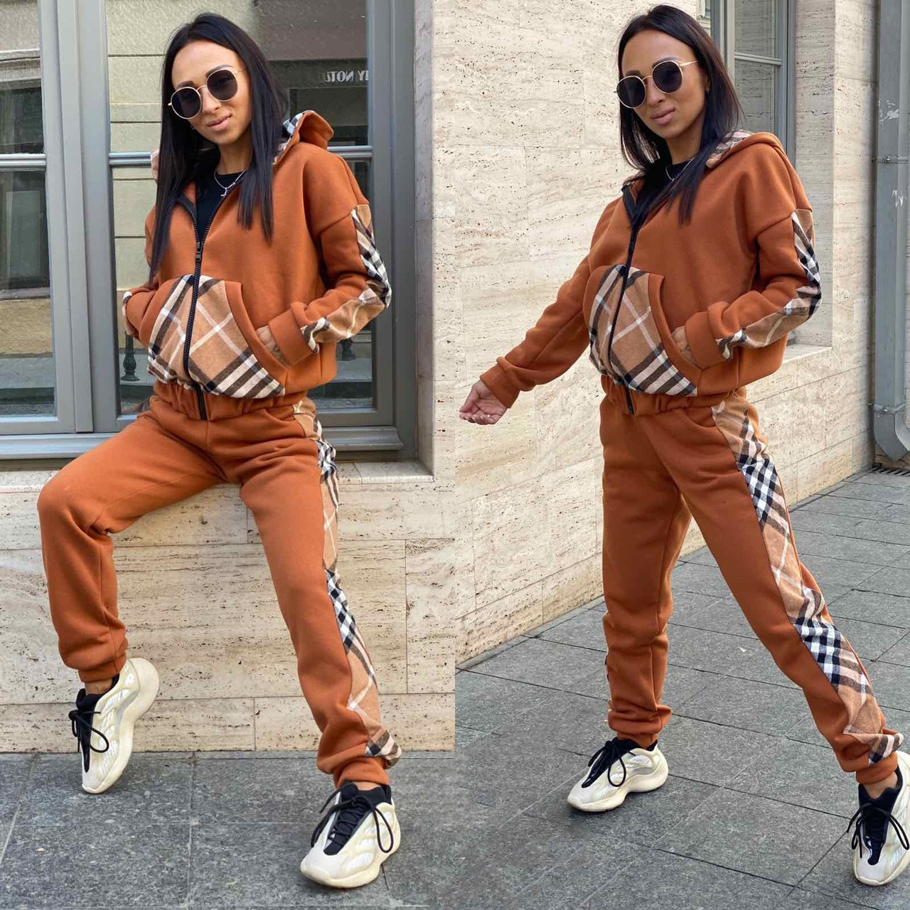 Кирпичный женский тёплый спортивный костюм