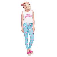 Женские модные леггинсы с высокой талией для фитнеса и йоги с Фламинго | Спортивные лосины облегающие