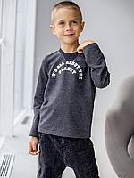 Темно - серая кофта тонкая для мальчика с надписью 122, 128, 134, 140, фото 1