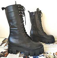 Женские высокие ботинки на шнуровке Prada Love Прада, кожаные зимние, на массивной подошве