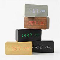 Деревянные Настольные часы VST-862 с термометром коричневое дерево (зеленая подсветка)