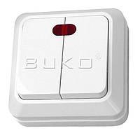 Выключатель 2 с подсветкой BUKO белый