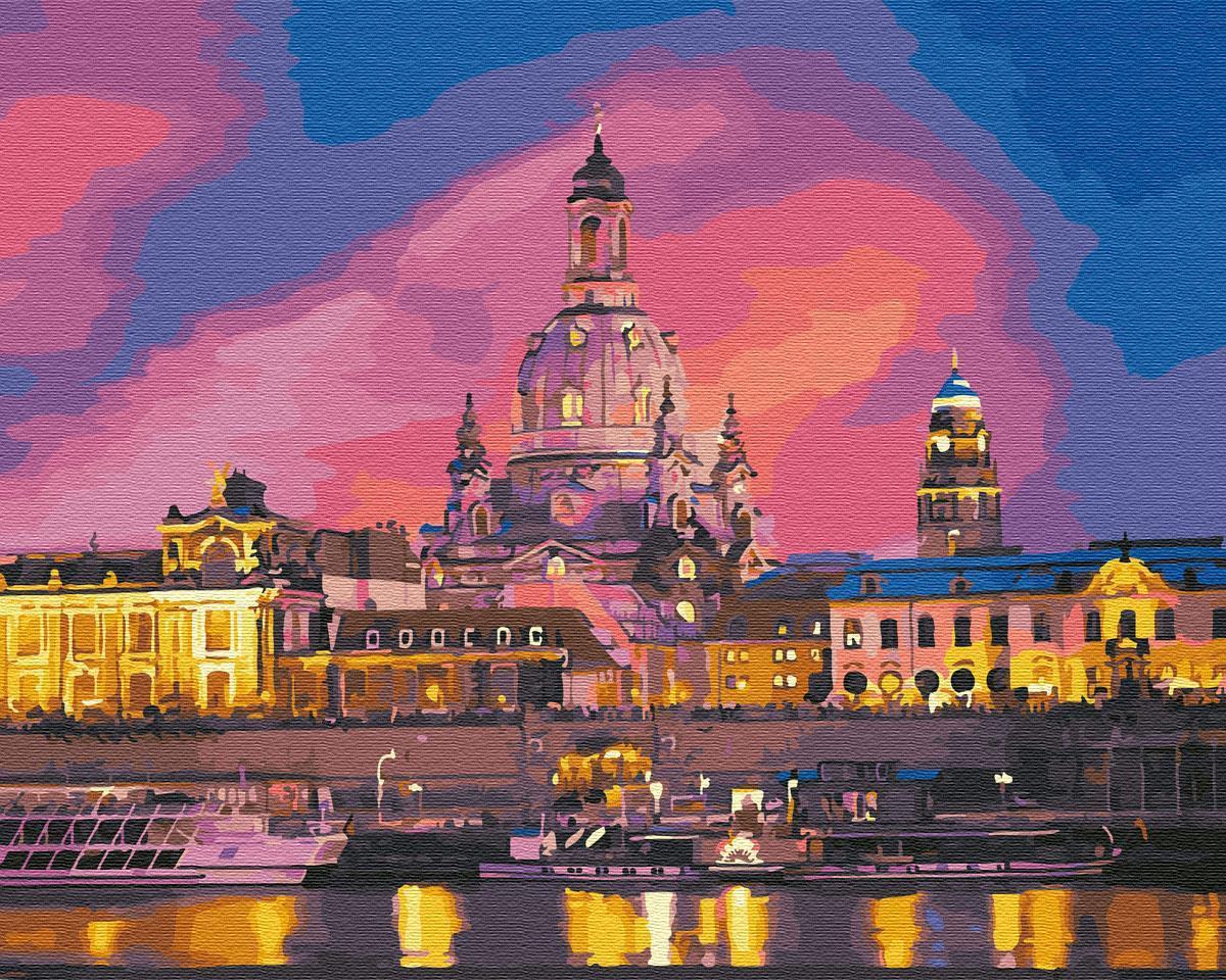 Картина рисование по номерам Brushme Вечерний Дрезден BRM28780 40х50 см Сооружения, дома, городской пейзаж