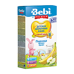 Молочна каша Bebi Premium Пшенична Яблуко Банан, 6+, 250г