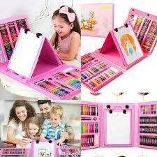 Большой набор для рисования в чемодане с мольбертом 208 предметов (Pink)!