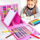 Большой набор для рисования в чемодане с мольбертом 208 предметов (Pink)!, фото 4