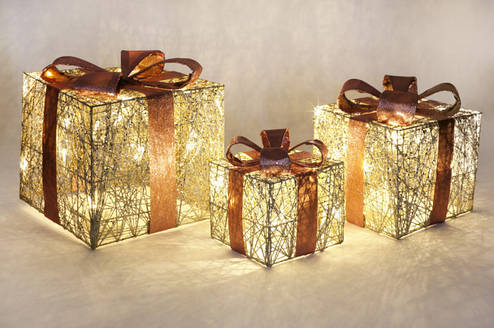 Набор декоративных подарков (3шт) с подсветкой, 20см, 25см, 30см BonaDi NY12-338, фото 2