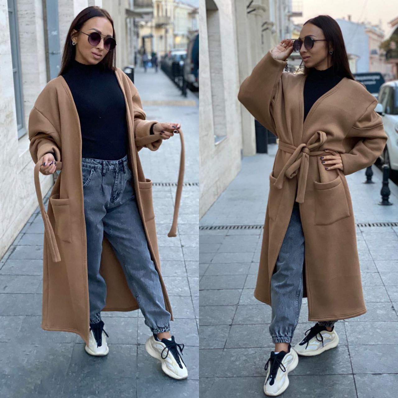 Женское длинное пальто-кардиган оверсайз