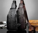 Мужская сумка через плечо «Alligator» BAG FEIDIKABOLO  (кориченевый, чёрный)!, фото 2