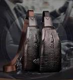 Мужская сумка через плечо «Alligator» BAG FEIDIKABOLO  (кориченевый, чёрный)!, фото 5