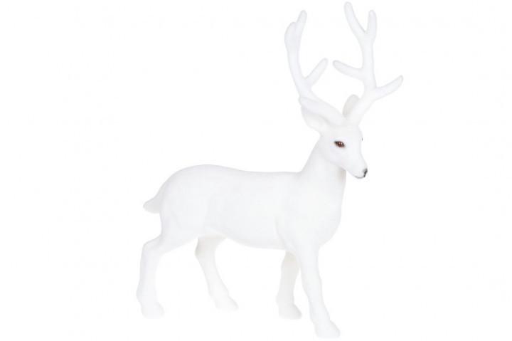 Новогодний декор Олень, 30см с велюровым покрытием, цвет - белый BonaDi 113-301