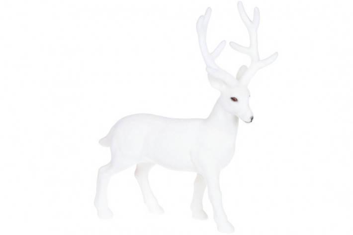 Новогодний декор Олень, 30см с велюровым покрытием, цвет - белый BonaDi 113-301, фото 2