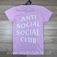 Футболка ASSC женская   Бирки фотки   Розовая Anti Social Social Club