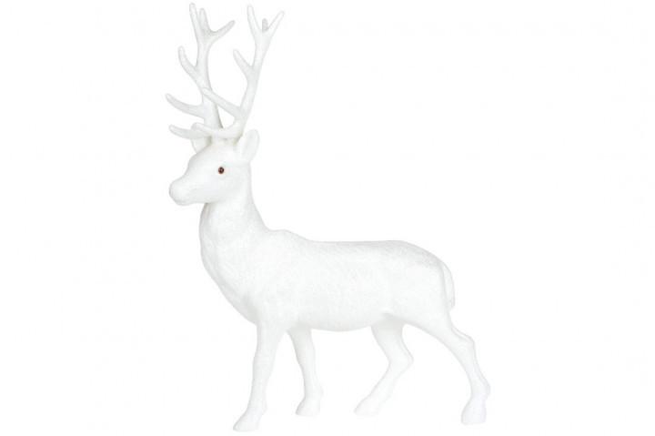 Новогодний декор Олень, 40см, цвет - белый глиттер BonaDi 113-304
