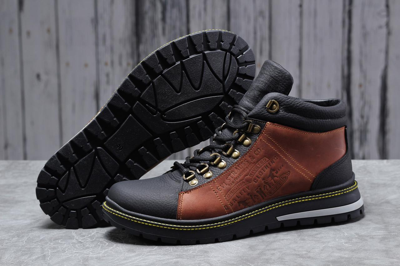 Зимние мужские ботинки Levi's (на меху) коричневые  43