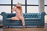 Пижама комбинезон с карманом (вырезом) на попе теплая розовая, фото 2