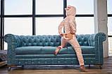 Пижама комбинезон с карманом (вырезом) на попе теплая розовая, фото 4