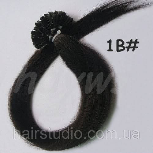 Волосы для наращивания на кератиновых капсулах, оттенок №1В. 55 см 100 капсул 50 грамм