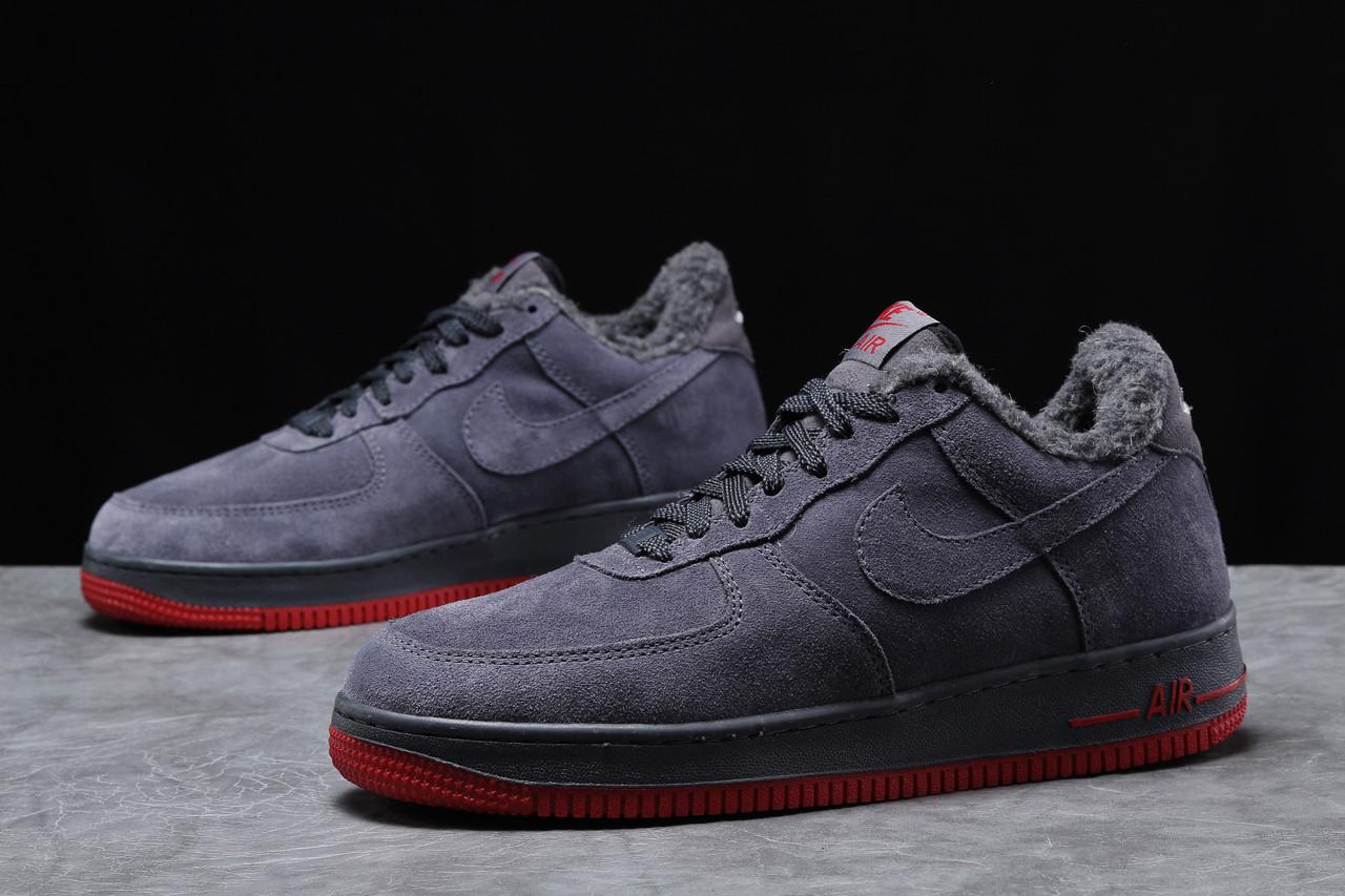 Зимние мужские кроссовки Nike Air AF1 (на меху) темно-серые