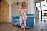 Пижама комбинезон с карманом (вырезом) на попе теплая розовая, фото 6