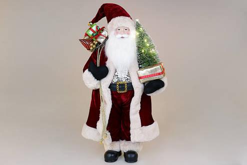 Мягкая игрушка Санта с ёлкой 60см с LED подсветкой, цвет - бордо (845-231), фото 2