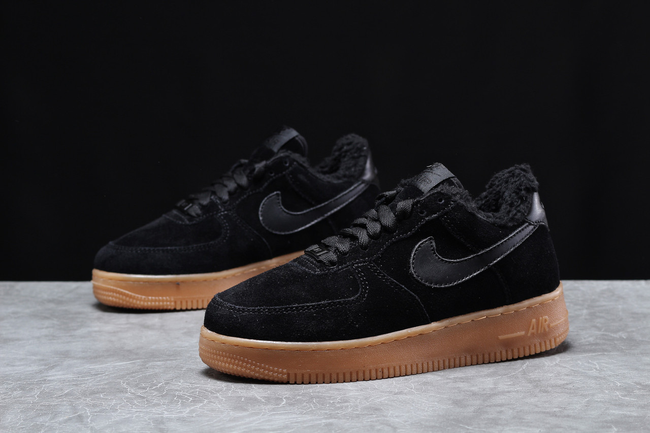 Зимние женские кроссовки Nike Air AF1 (на меху) черные 0см.