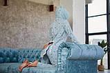 Пижама комбинезон с карманом (вырезом) на попе теплая голубая, фото 2
