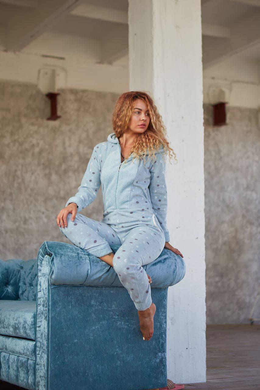 Пижама комбинезон с карманом (вырезом) на попе теплая голубая