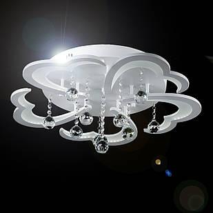 Потолочная светодиодная люстра с хрустальными камнями на 5 лепестков 80 Вт VL-40394/5 LED WT
