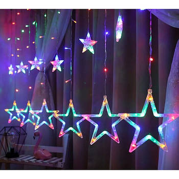 Гірлянда штора і зірки з пультом Multi color