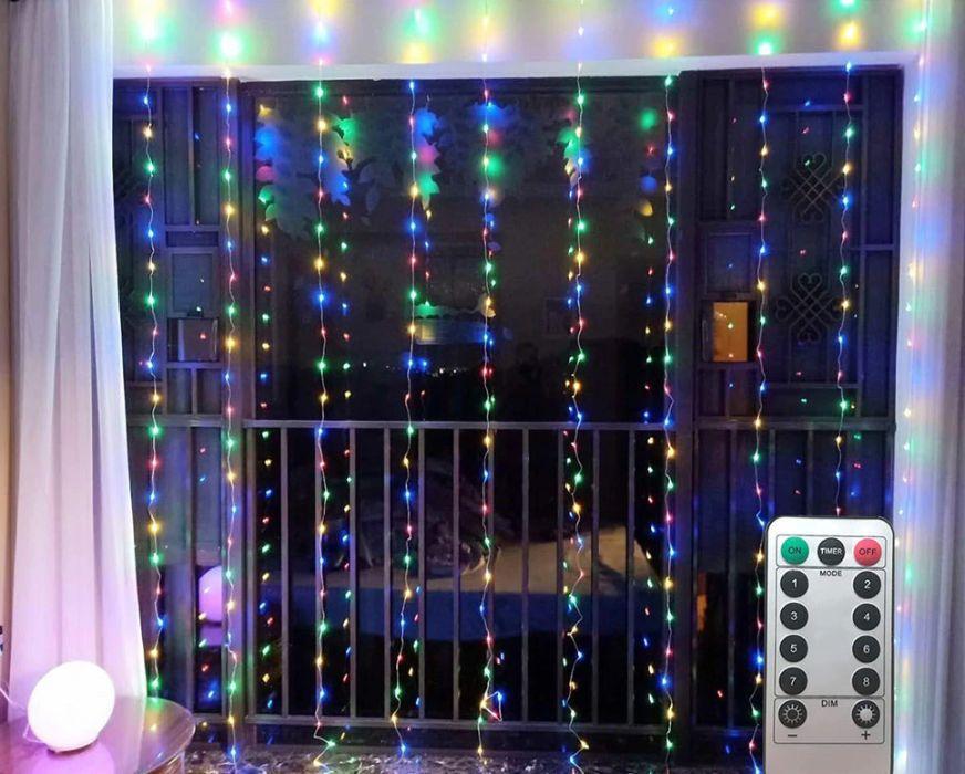 Гирлянда штора Icicle Light 3x2 Разноцветная с пультом