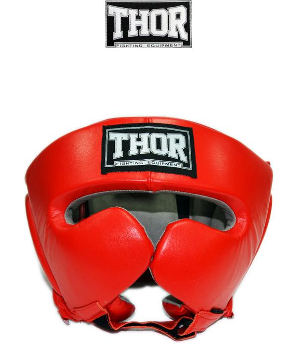 Защитный шлем боксерский классический THOR 716 (Leather) RED