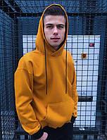 Мужская кофта флисовая с капюшоном (худи) теплая на флисе оранж цвет Турция. Живое фото
