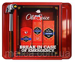 Набор Old Spice Captain в металлической коробке (лосьон после бритья+дезодорант стик+гель для душа-шампунь)