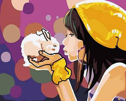 Картина малювання за номерами Mariposa Девочка с кроликом MR-Q2105 40х50 см Дети на картине набор для росписи краски, кисти, холст