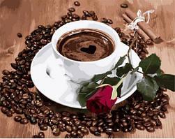 Картина малювання за номерами Mariposa Приглашение на кофе MR-Q2096 40х50 см Цветы, букеты, натюрморты набор для росписи краски,